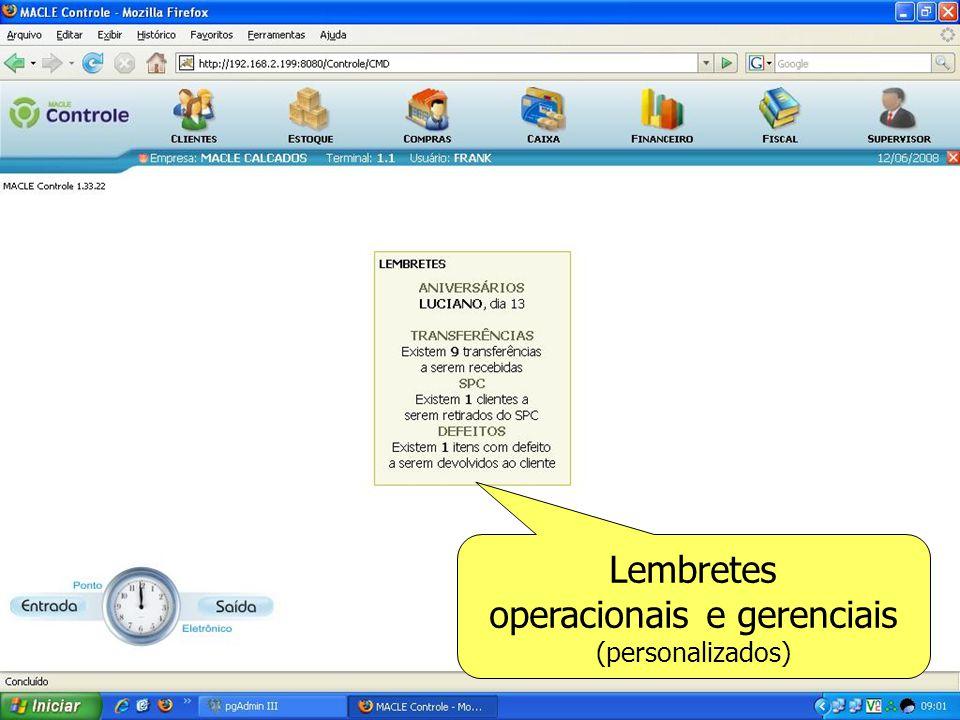 Lembretes operacionais e gerenciais (personalizados)