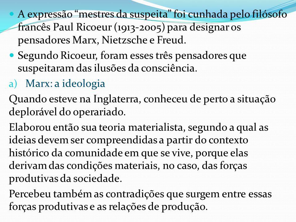 A expressão mestres da suspeita foi cunhada pelo filósofo francês Paul Ricoeur (1913-2005) para designar os pensadores Marx, Nietzsche e Freud. Segund