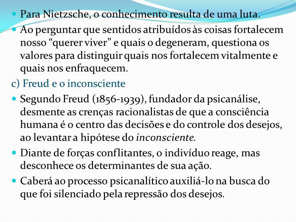 Para Nietzsche, o conhecimento resulta de uma luta. Ao perguntar que sentidos atribuídos às coisas fortalecem nosso querer viver e quais o degeneram,