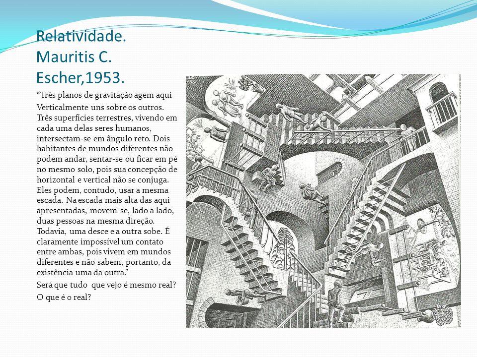 Relatividade. Mauritis C. Escher,1953. Três planos de gravitação agem aqui Verticalmente uns sobre os outros. Três superfícies terrestres, vivendo em