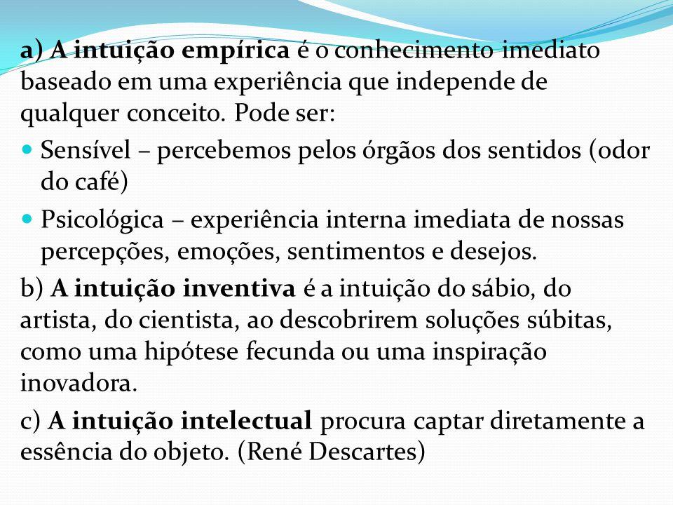 a) A intuição empírica é o conhecimento imediato baseado em uma experiência que independe de qualquer conceito. Pode ser: Sensível – percebemos pelos