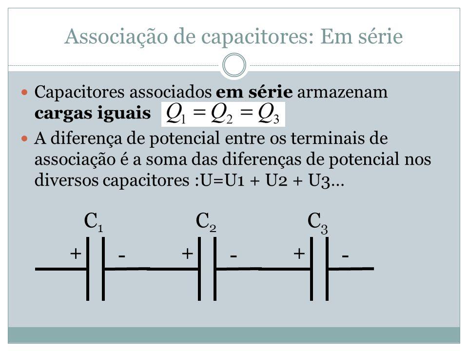 Associação de capacitores: Em série Capacitores associados em série armazenam cargas iguais A diferença de potencial entre os terminais de associação