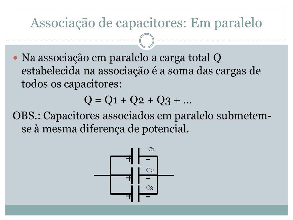 Associação de capacitores: Em paralelo Na associação em paralelo a carga total Q estabelecida na associação é a soma das cargas de todos os capacitore