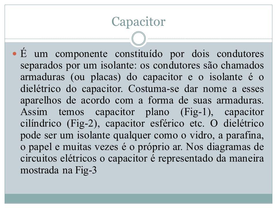 Capacitor É um componente constituído por dois condutores separados por um isolante: os condutores são chamados armaduras (ou placas) do capacitor e o