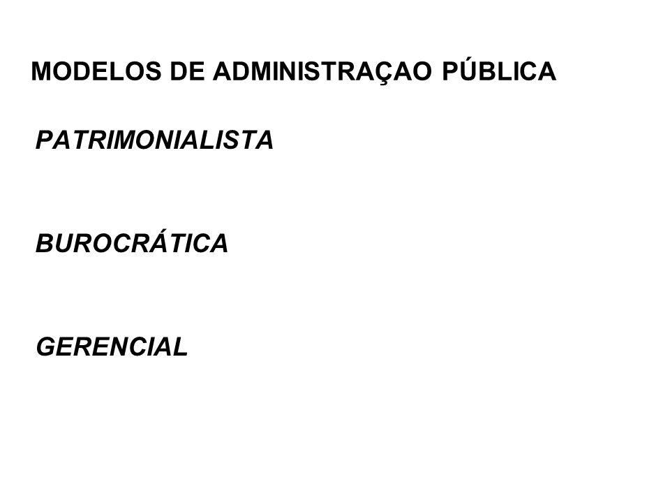 MODELOS DE ADMINISTRAÇAO PÚBLICA PATRIMONIALISTA BUROCRÁTICA GERENCIAL