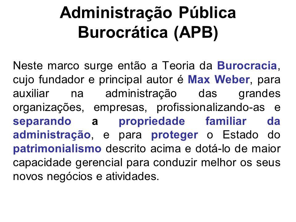 Administração Pública Burocrática (APB) Neste marco surge então a Teoria da Burocracia, cujo fundador e principal autor é Max Weber, para auxiliar na