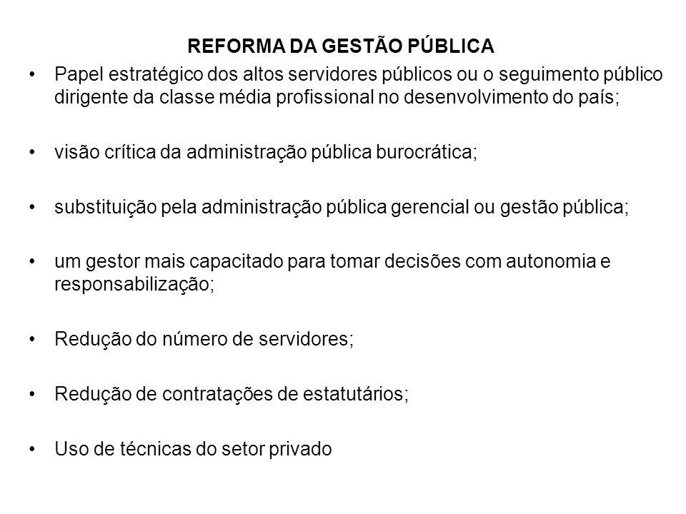 REFORMA DA GESTÃO PÚBLICA Papel estratégico dos altos servidores públicos ou o seguimento público dirigente da classe média profissional no desenvolvi