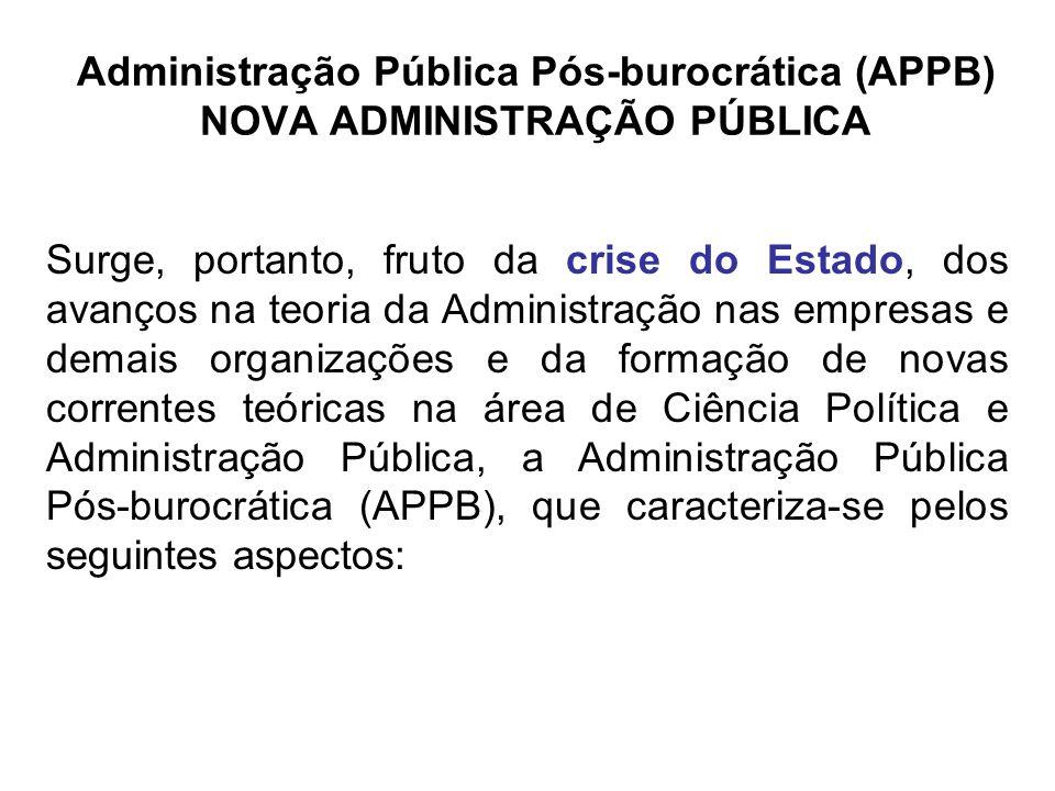 Administração Pública Pós-burocrática (APPB) NOVA ADMINISTRAÇÃO PÚBLICA Surge, portanto, fruto da crise do Estado, dos avanços na teoria da Administra