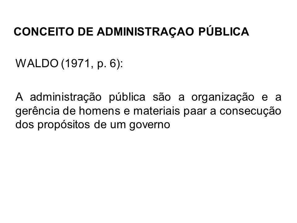 CONCEITO DE ADMINISTRAÇAO PÚBLICA WALDO (1971, p. 6): A administração pública são a organização e a gerência de homens e materiais paar a consecução d