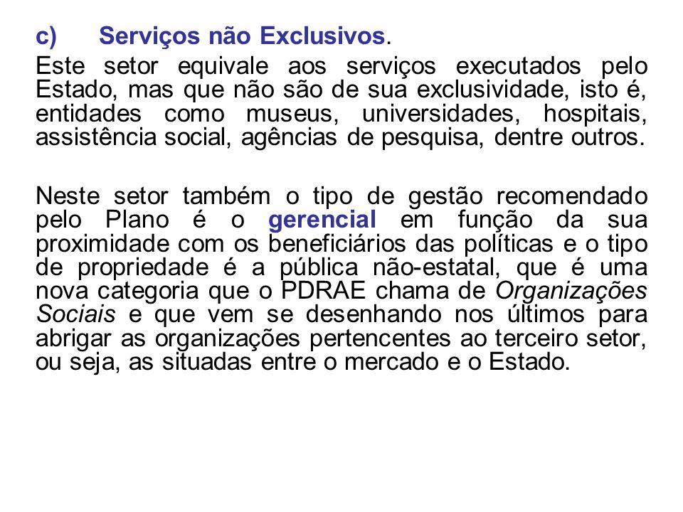 c) Serviços não Exclusivos. Este setor equivale aos serviços executados pelo Estado, mas que não são de sua exclusividade, isto é, entidades como muse
