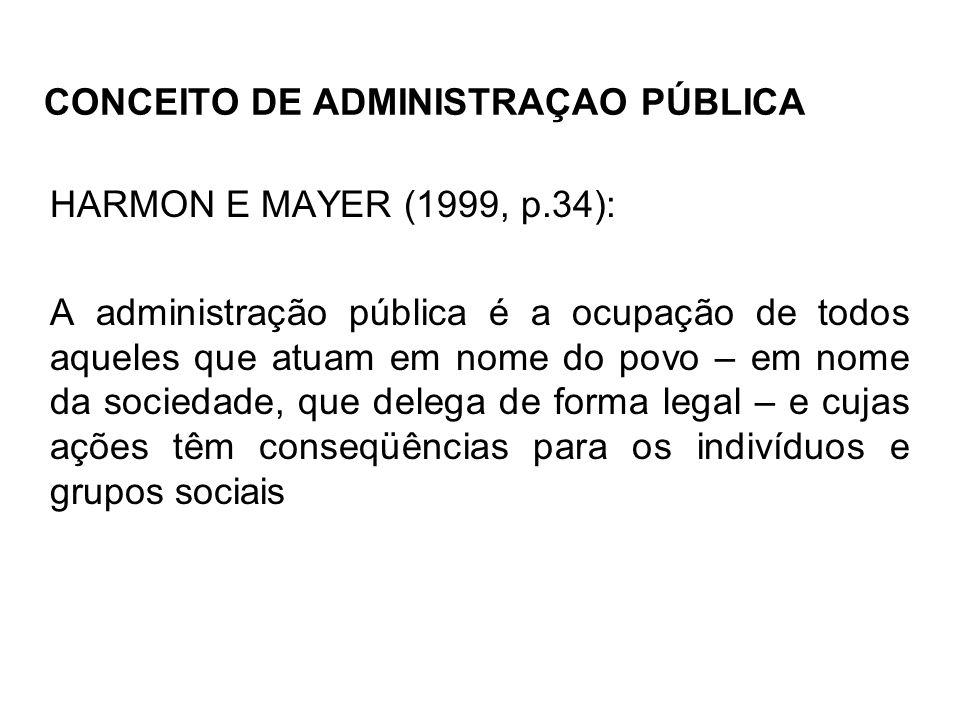 CONCEITO DE ADMINISTRAÇAO PÚBLICA HARMON E MAYER (1999, p.34): A administração pública é a ocupação de todos aqueles que atuam em nome do povo – em no