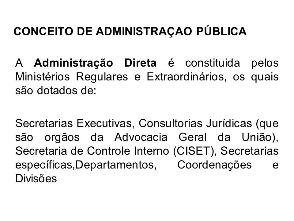 CONCEITO DE ADMINISTRAÇAO PÚBLICA A Administração Direta é constituida pelos Ministérios Regulares e Extraordinários, os quais são dotados de: Secreta