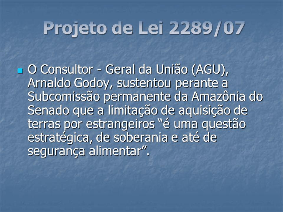 O Consultor - Geral da União (AGU), Arnaldo Godoy, sustentou perante a Subcomissão permanente da Amazônia do Senado que a limitação de aquisição de te