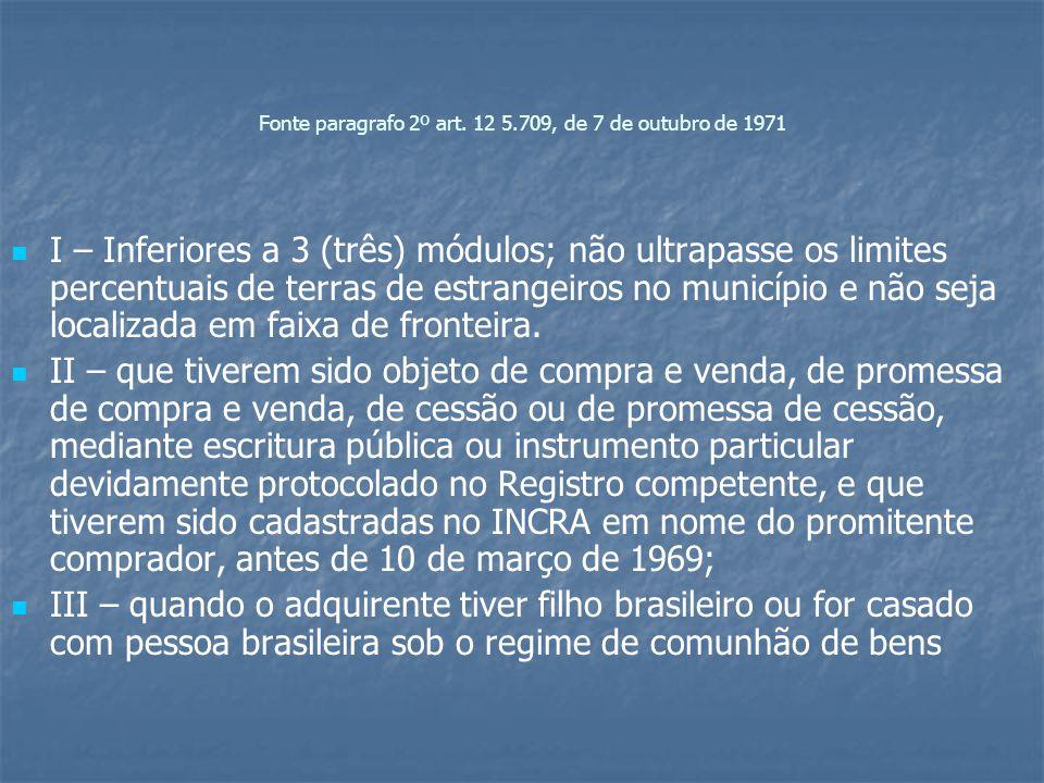 Fonte paragrafo 2º art. 12 5.709, de 7 de outubro de 1971 I – Inferiores a 3 (três) módulos; não ultrapasse os limites percentuais de terras de estran