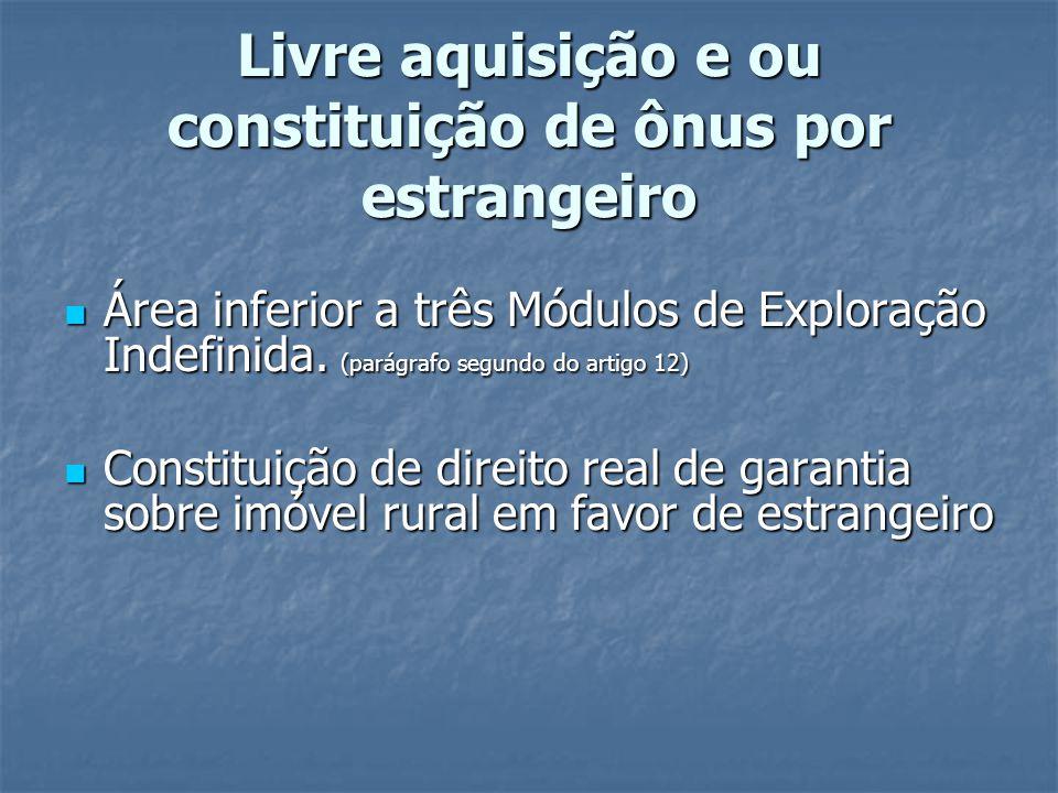 Livre aquisição e ou constituição de ônus por estrangeiro Área inferior a três Módulos de Exploração Indefinida. (parágrafo segundo do artigo 12) Área