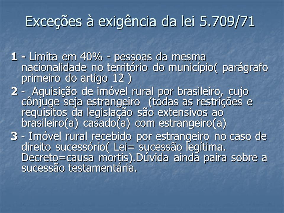 Exceções à exigência da lei 5.709/71 1 - Limita em 40% - pessoas da mesma nacionalidade no território do município( parágrafo primeiro do artigo 12 )