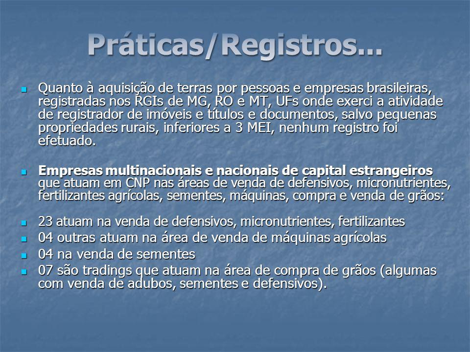 Quanto à aquisição de terras por pessoas e empresas brasileiras, registradas nos RGIs de MG, RO e MT, UFs onde exerci a atividade de registrador de im