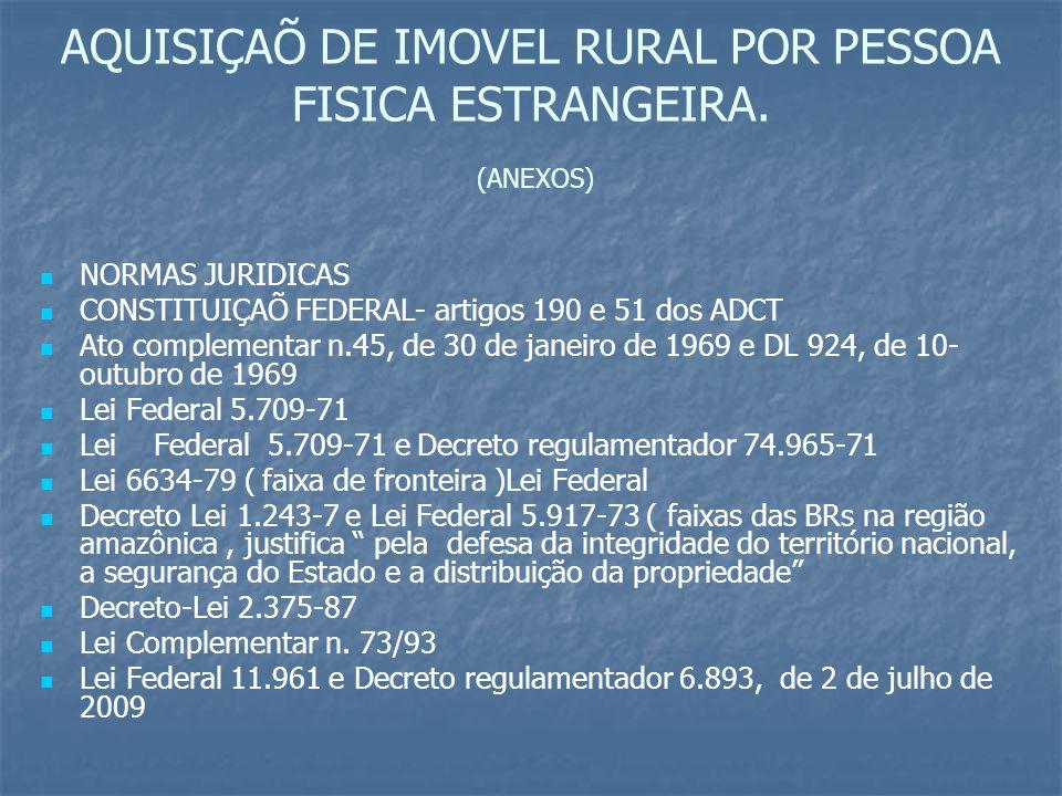 AQUISIÇAÕ DE IMOVEL RURAL POR PESSOA FISICA ESTRANGEIRA. (ANEXOS) NORMAS JURIDICAS CONSTITUIÇAÕ FEDERAL- artigos 190 e 51 dos ADCT Ato complementar n.