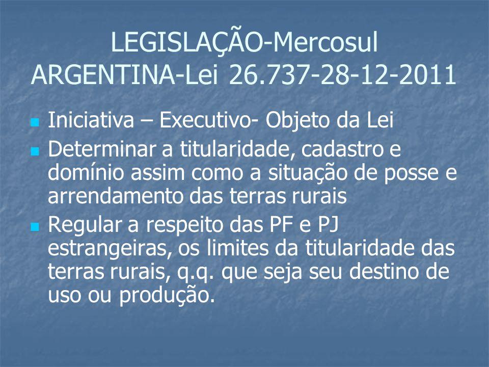 LEGISLAÇÃO-Mercosul ARGENTINA-Lei 26.737-28-12-2011 Iniciativa – Executivo- Objeto da Lei Determinar a titularidade, cadastro e domínio assim como a s