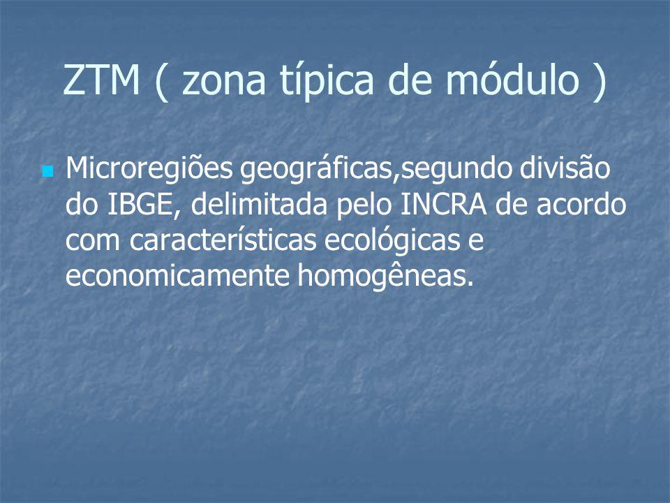 ZTM ( zona típica de módulo ) Microregiões geográficas,segundo divisão do IBGE, delimitada pelo INCRA de acordo com características ecológicas e econo