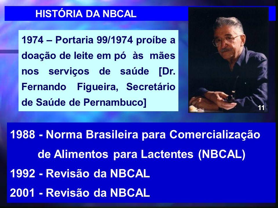 12 1988 - Norma Brasileira para Comercialização de Alimentos para Lactentes (NBCAL) 1992 - Revisão da NBCAL 2001 - Revisão da NBCAL 1974 – Portaria 99