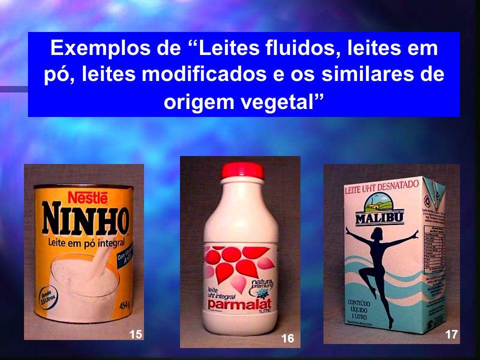 17 Exemplos de Leites fluidos, leites em pó, leites modificados e os similares de origem vegetal 15 16 17