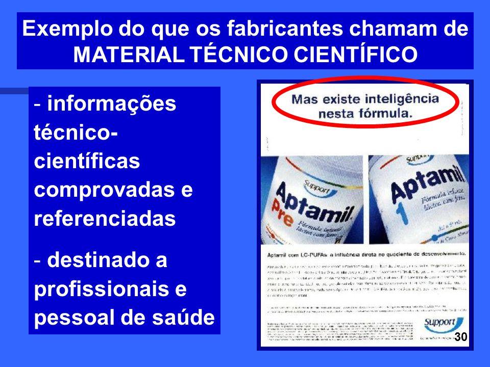 22 - informações técnico- científicas comprovadas e referenciadas - destinado a profissionais e pessoal de saúde Exemplo do que os fabricantes chamam