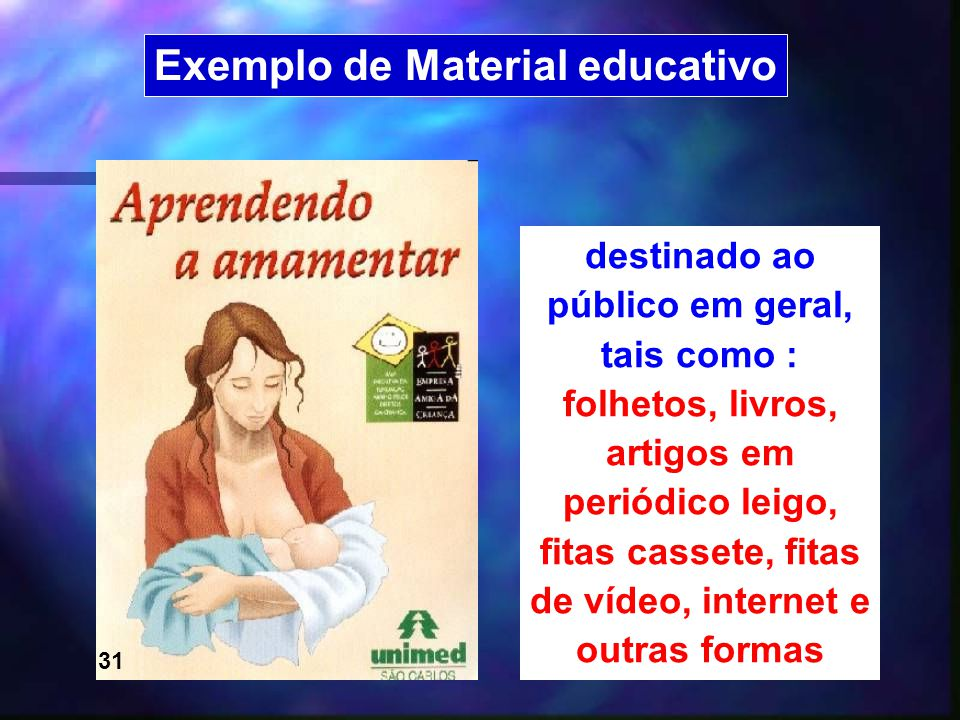 23 Exemplo de Material educativo destinado ao público em geral, tais como : folhetos, livros, artigos em periódico leigo, fitas cassete, fitas de víde