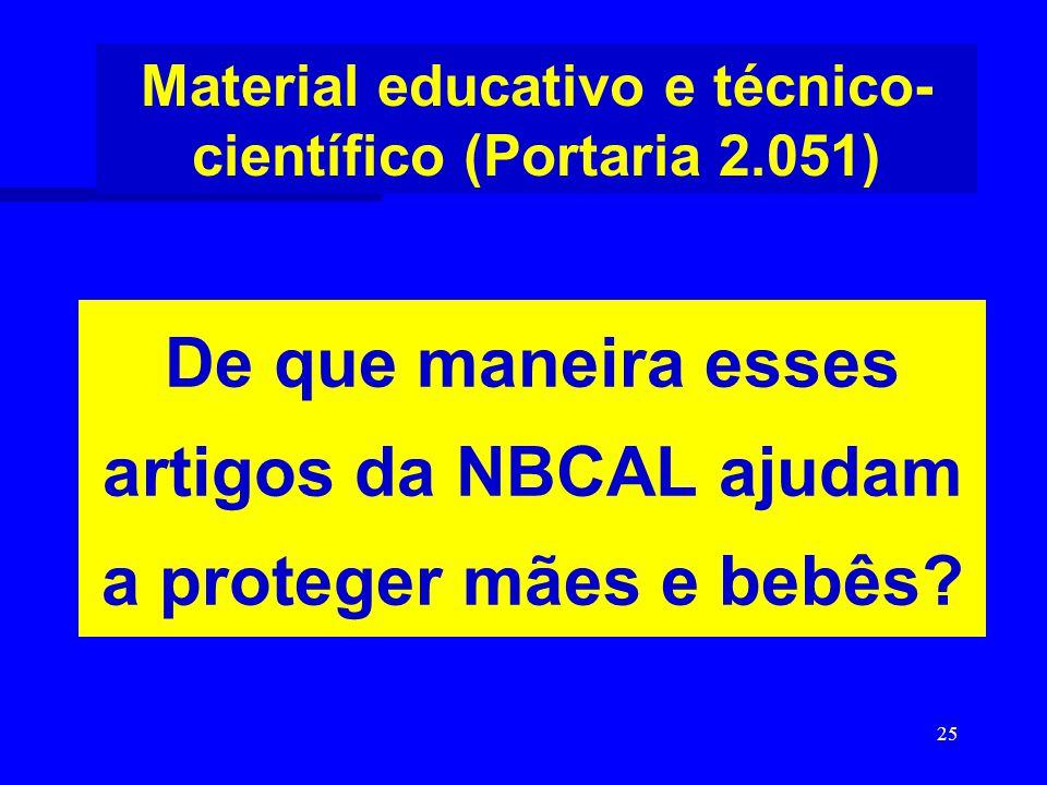 25 De que maneira esses artigos da NBCAL ajudam a proteger mães e bebês? Material educativo e técnico- científico (Portaria 2.051)