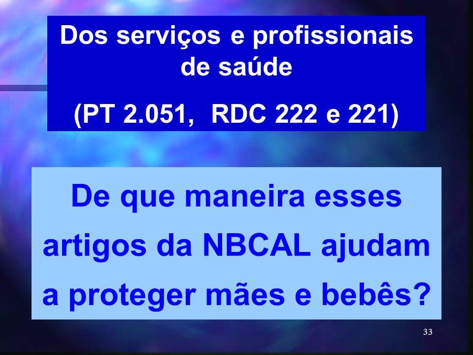 33 Dos serviços e profissionais de saúde (PT 2.051, RDC 222 e 221) De que maneira esses artigos da NBCAL ajudam a proteger mães e bebês?