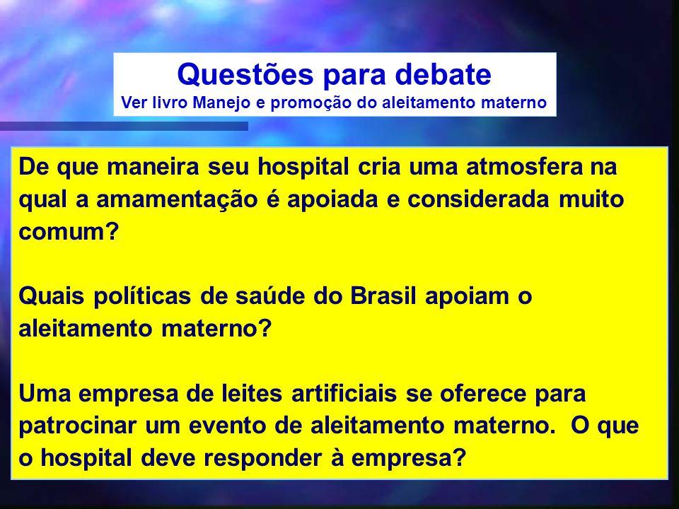 46 Questões para debate Ver livro Manejo e promoção do aleitamento materno De que maneira seu hospital cria uma atmosfera na qual a amamentação é apoi