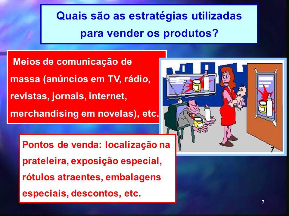 7 Meios de comunicação de massa (anúncios em TV, rádio, revistas, jornais, internet, merchandising em novelas), etc. Quais são as estratégias utilizad