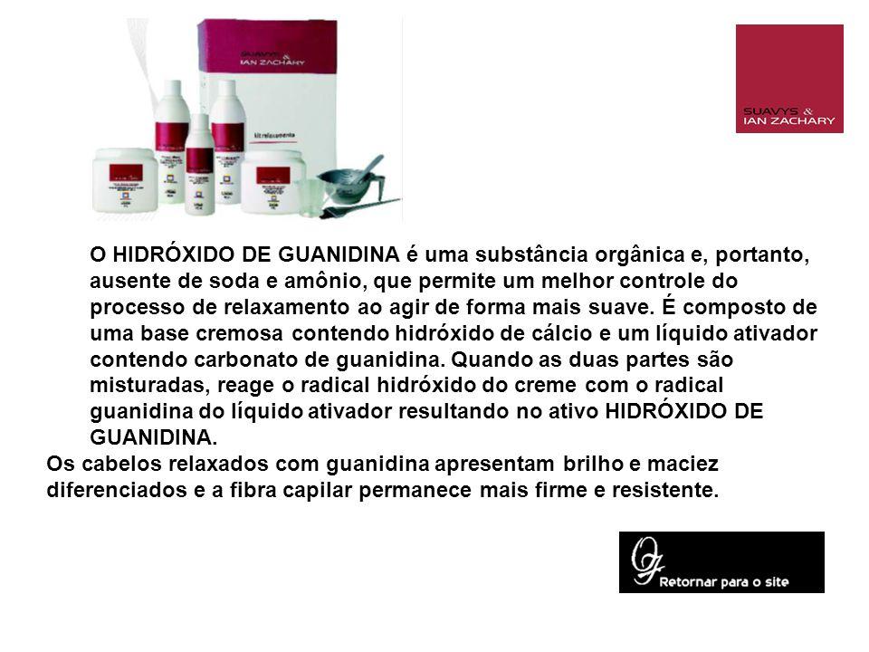 O HIDRÓXIDO DE GUANIDINA é uma substância orgânica e, portanto, ausente de soda e amônio, que permite um melhor controle do processo de relaxamento ao agir de forma mais suave.