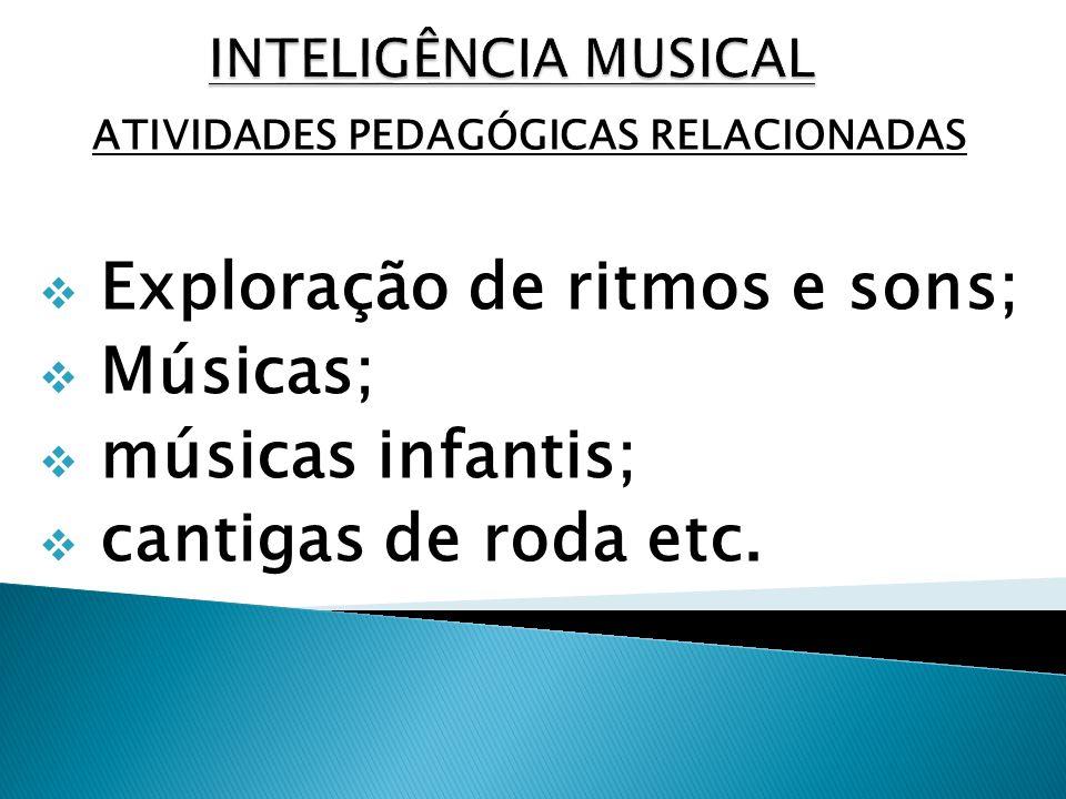 ATIVIDADES PEDAGÓGICAS RELACIONADAS Exploração de ritmos e sons; Músicas; músicas infantis; cantigas de roda etc.