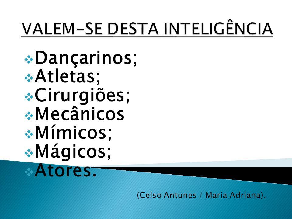 Dançarinos; Atletas; Cirurgiões; Mecânicos Mímicos; Mágicos; Atores. (Celso Antunes / Maria Adriana). )