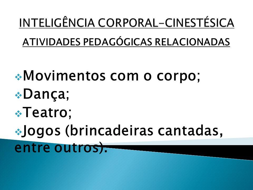 ATIVIDADES PEDAGÓGICAS RELACIONADAS Movimentos com o corpo; Dança; Teatro; Jogos (brincadeiras cantadas, entre outros).