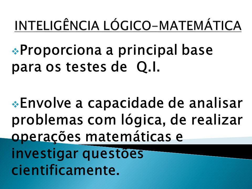 Proporciona a principal base para os testes de Q.I. Envolve a capacidade de analisar problemas com lógica, de realizar operações matemáticas e investi