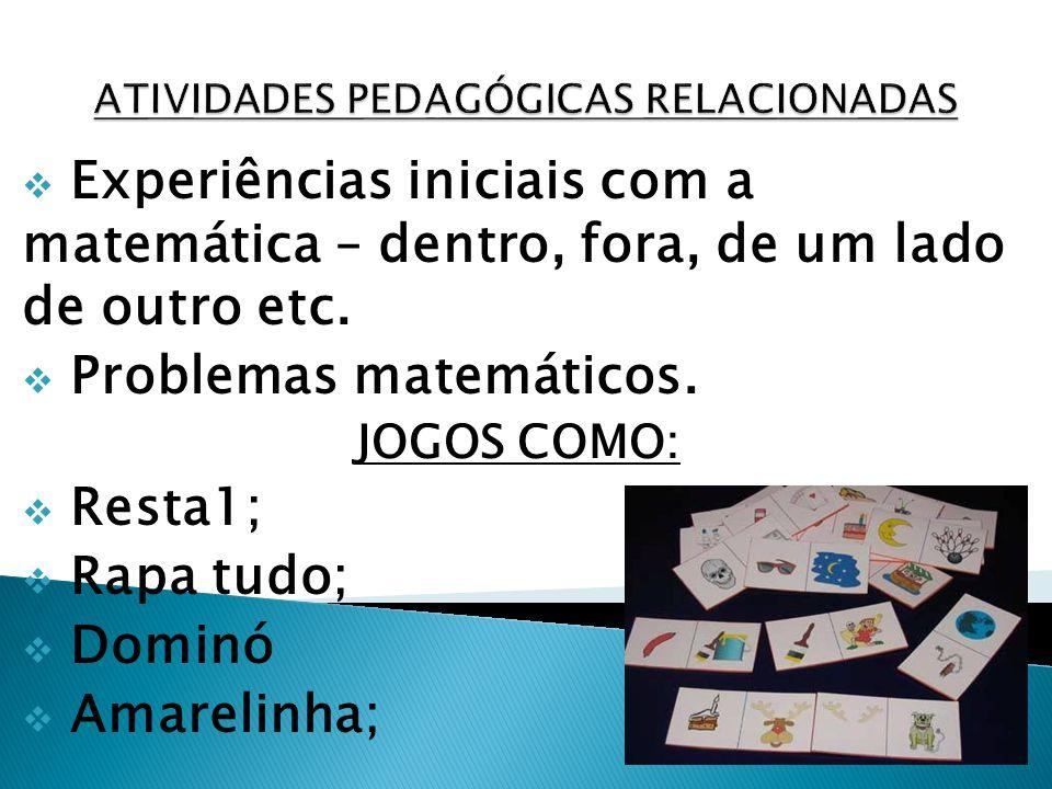 Experiências iniciais com a matemática – dentro, fora, de um lado de outro etc. Problemas matemáticos. JOGOS COMO: Resta1; Rapa tudo; Dominó Amarelinh