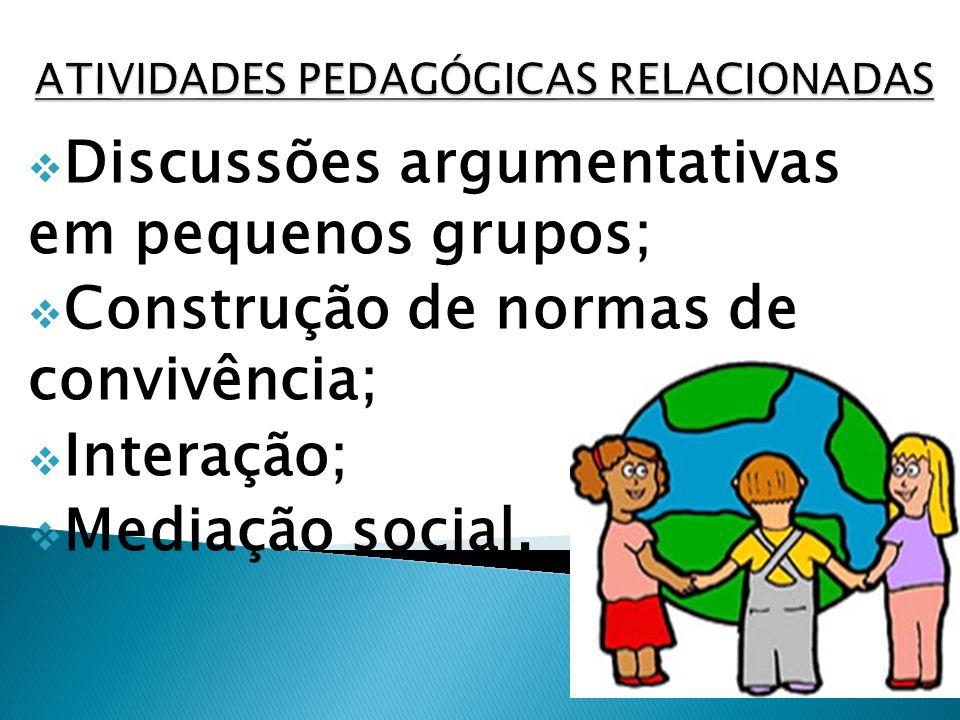 Discussões argumentativas em pequenos grupos; Construção de normas de convivência; Interação; Mediação social.