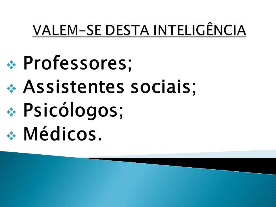 Professores; Assistentes sociais; Psicólogos; Médicos.