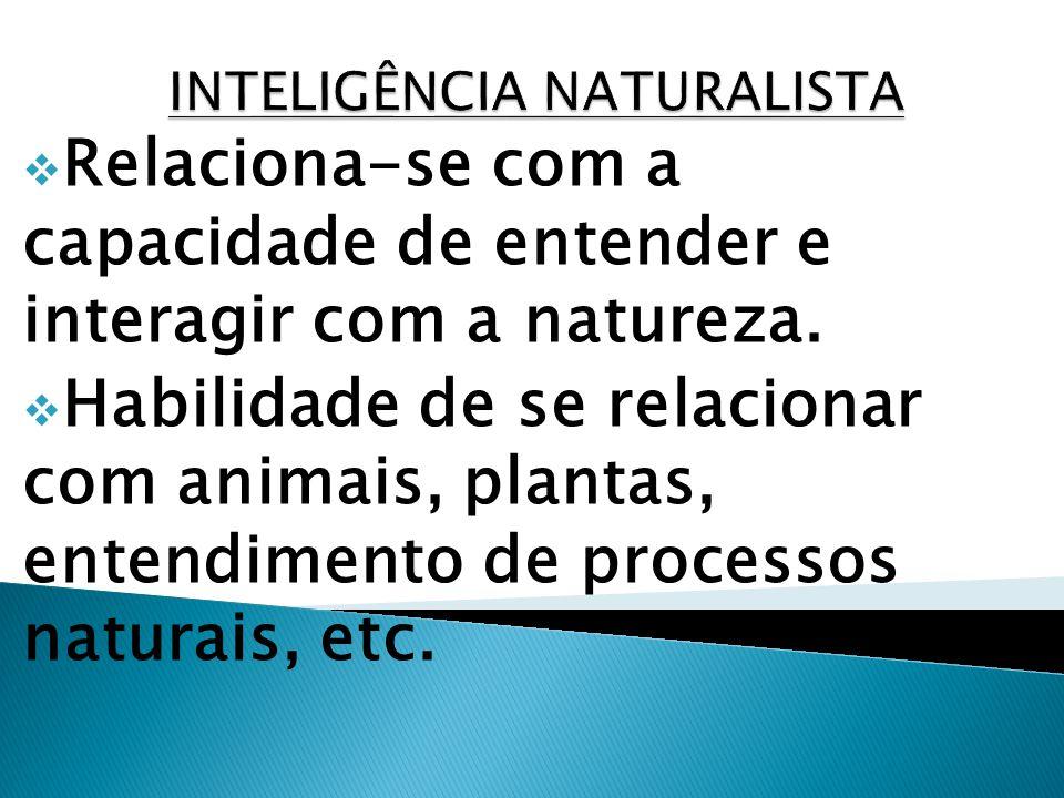 Relaciona-se com a capacidade de entender e interagir com a natureza. Habilidade de se relacionar com animais, plantas, entendimento de processos natu