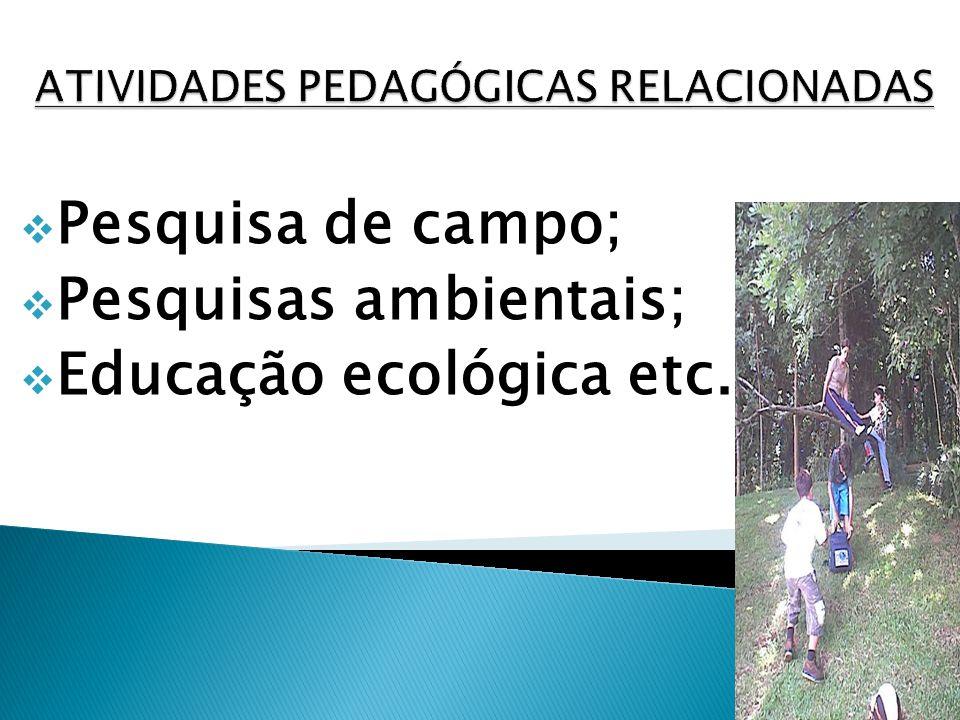 Pesquisa de campo; Pesquisas ambientais; Educação ecológica etc.