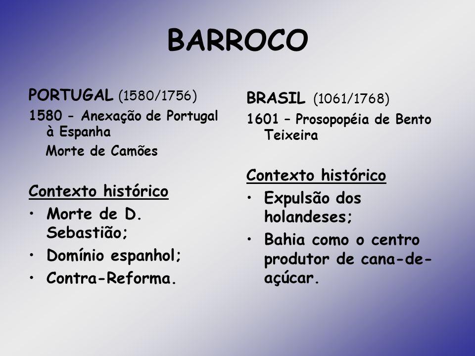 PORTUGAL (1580/1756) 1580 - Anexação de Portugal à Espanha Morte de Camões Contexto histórico Morte de D. Sebastião; Domínio espanhol; Contra-Reforma.