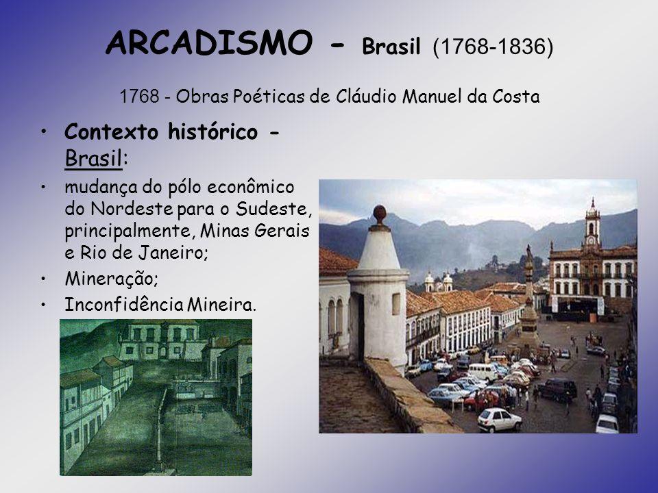 ARCADISMO - Brasil (1768-1836) 1768 - Obras Poéticas de Cláudio Manuel da Costa Contexto histórico - Brasil: mudança do pólo econômico do Nordeste par
