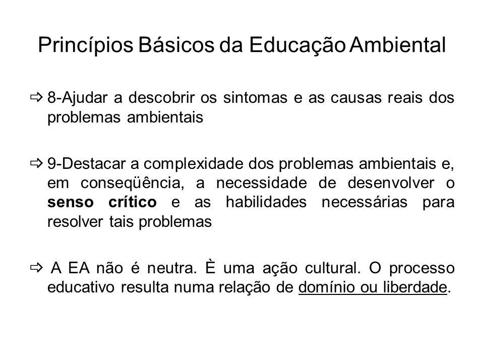 Princípios Básicos da Educação Ambiental 8-Ajudar a descobrir os sintomas e as causas reais dos problemas ambientais 9-Destacar a complexidade dos pro