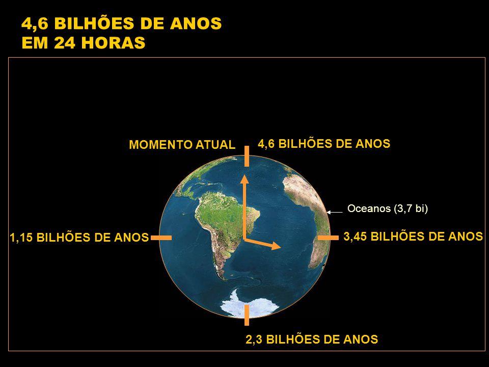 4,6 BILHÕES DE ANOS 1,15 BILHÕES DE ANOS 2,3 BILHÕES DE ANOS 3,45 BILHÕES DE ANOS Oceanos (3,7 bi) 4,6 BILHÕES DE ANOS EM 24 HORAS MOMENTO ATUAL