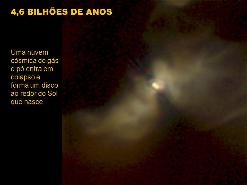 Uma nuvem cósmica de gás e pó entra em colapso e forma um disco ao redor do Sol que nasce. 4,6 BILHÕES DE ANOS