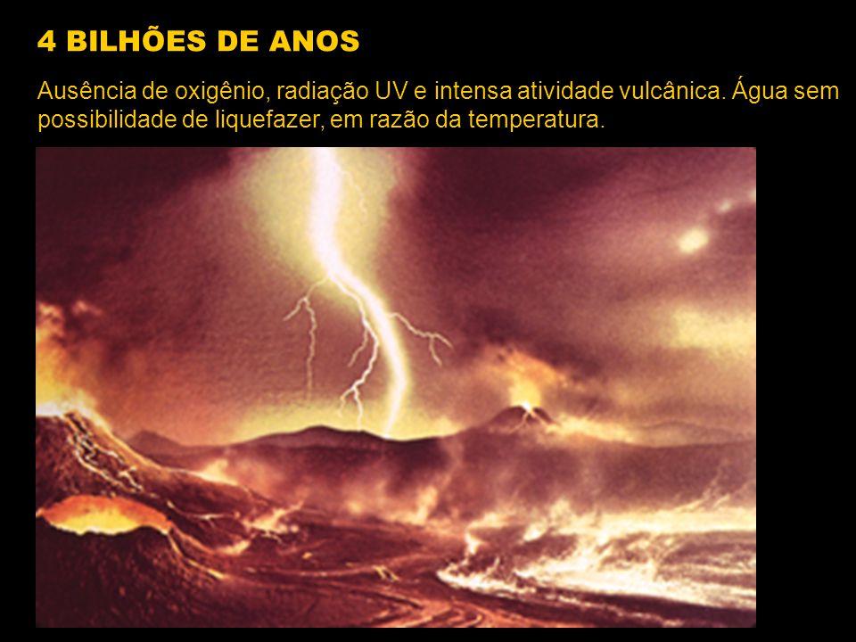 Ausência de oxigênio, radiação UV e intensa atividade vulcânica. Água sem possibilidade de liquefazer, em razão da temperatura. 4 BILHÕES DE ANOS
