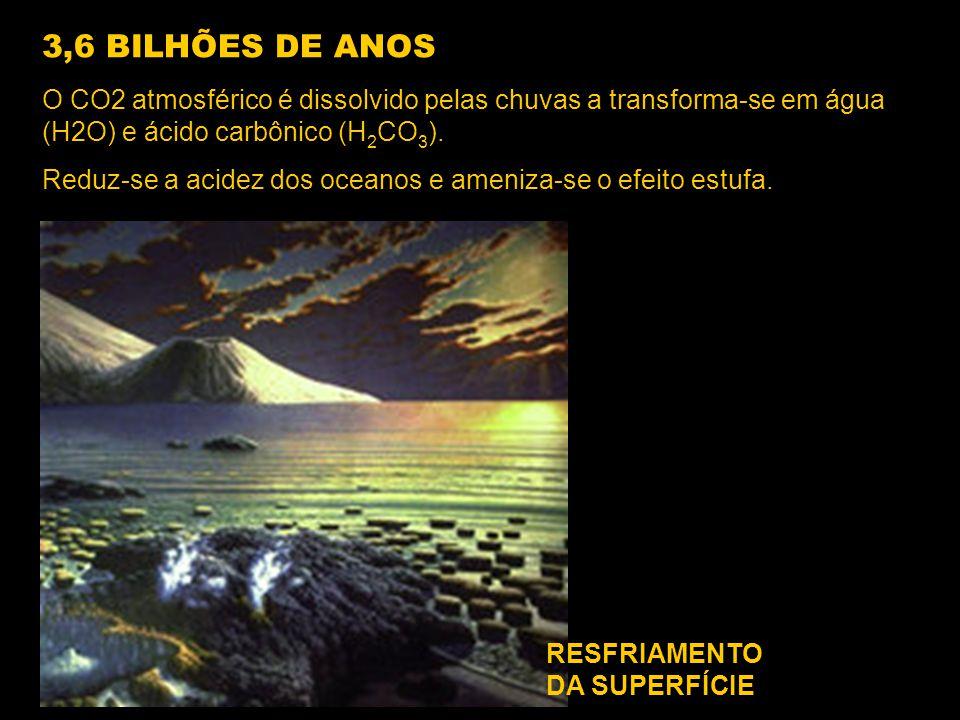 O CO2 atmosférico é dissolvido pelas chuvas a transforma-se em água (H2O) e ácido carbônico (H 2 CO 3 ). Reduz-se a acidez dos oceanos e ameniza-se o
