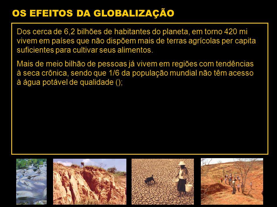 Dos cerca de 6,2 bilhões de habitantes do planeta, em torno 420 mi vivem em países que não dispõem mais de terras agrícolas per capita suficientes para cultivar seus alimentos.